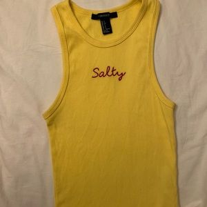 """Forever 21 Yellow """"Salty"""" Tanktop small"""
